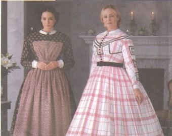 Simplicity 7212 Historic Misses Civil War Costume Dress Apron Pattern Womens Sewing Pattern Size 6 8 10 12 Bust 30 31 32 34 UNCUT