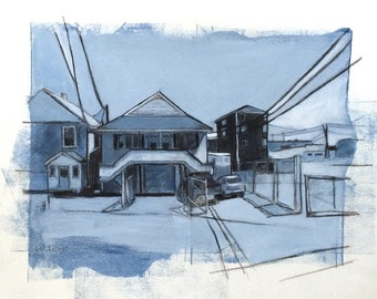 Beach Houses, #4 - original painting on paper