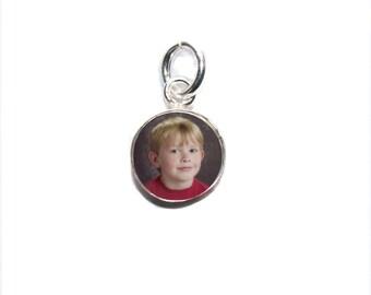 Custom Photo Charm/ Tiny 8mm Silver Circle