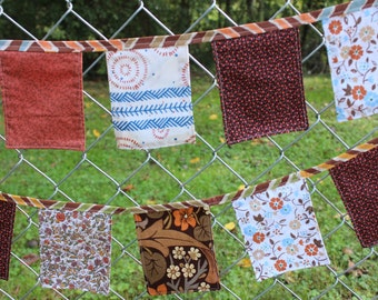 Fabric Banner 9 ft Vintage Cloth Brown Orange Blue Bunting