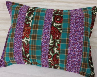 Lumbar Pillow 12 x 16 Vintage Winter Fabric Teal Red Purple Cover Slip