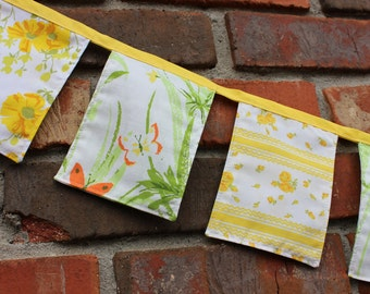 Spring Banner Fabric Yellow Green Floral Easter 5 ft Vintage Cloth Party Nursery Decor