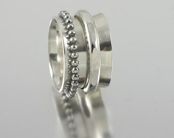 Sterling Silver Band Spinner Ring with One Beaded and One Forged Wire Sterling Spinner
