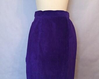 Vintage Purple Skirt Suede Pencil size 8 M