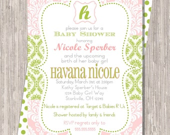 Pink & Green Damask Baby Shower Invite, 5x7 printed or printable