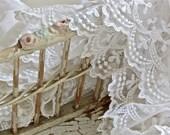 Vintage French Shabby Chic Lovely White Net Lace Runner