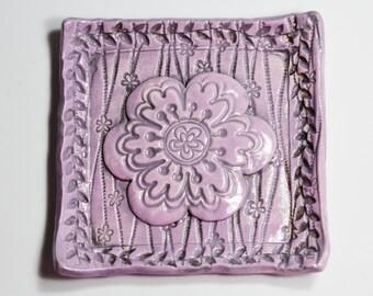 Ceramic Tray - Whimsical Lavender Flower Tray - Handmade