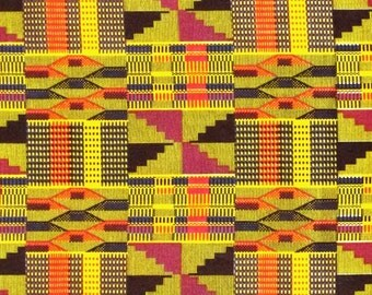 African Fabric 1/2 Yard Cotton Golden YELLOW FUSCHIA BLUE Kente Print