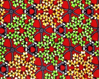 African Fabric 1/2 Yard Cotton Wax Print RED GREEN ORANGE Floral