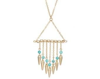Spike Tassel necklace - turquoise boho necklace