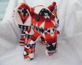 Navajo blanket elephant, white purple fire, pendleton inspired, stuffed animal, plush, plushie, orange red, pendleton blanket, native indian