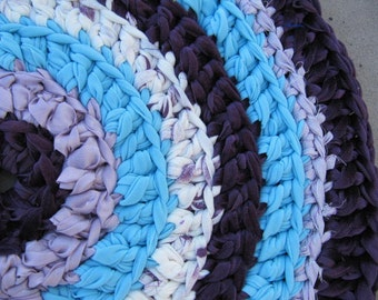 Purple Rag Rug, Crocheted Circle Rag Rug, Eco Friendly, Washable, Bath Mat