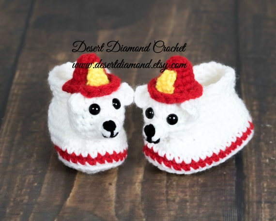 Fireman Bear Baby Booties - 5 Sizes - Made To Order