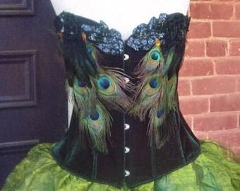Halloween Fairy Costume Sexy Peacock Velvet Corset