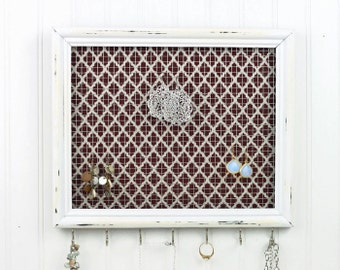 Distressed Antique White Framed Jewelry Organizer- Upcycled 8x10 Picture Frame