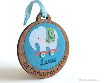 Baby's First Christmas Personalized Holiday Ornament Hand Embroidered Elephant Pull Toy Custom Holiday Keepsake for 2016
