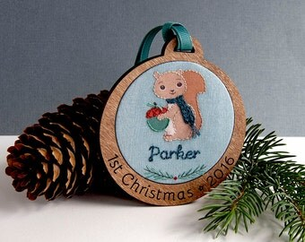 Baby's First Christmas Personalized Holiday Ornament Hand Embroidered Squirrel Custom Holiday Keepsake 2016