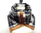 Navy and gray plaid Chunky circular infinity unisex  scarf , men's scarf , women scarf