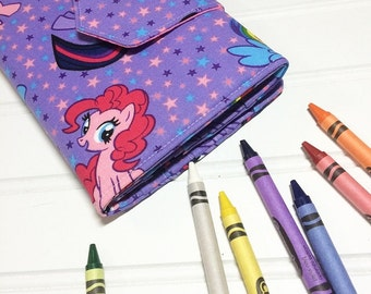 My little pony  gift, Kids travel wallet,  Crayon tote, Crayon case, Kids birthday gift, Coloring book. Toddler gift, crayon wallet