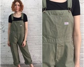 Valentine SALE vintage denim overalls / olive green khaki neutral earth tone / military