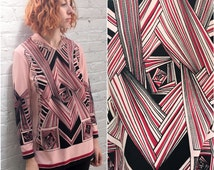 vintage 60s psychedelic print pink tunic top / mod long sleeve shirt with geometric print