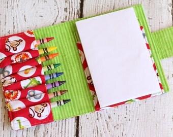Zoo Crayon Wallet.  Crayon Roll. Crayon Organizer. Party Favor. Crayon Case. Travel Toy. Art Wallet. Crayon Tote. Drawing Kit. Crayon Caddy.