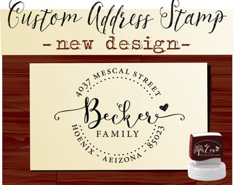 Calligraphy Handwriting Script Custom Return Address Stamp - Personalized Wood Handle or SELF INKING Wedding Stationery Stamper - 1162D