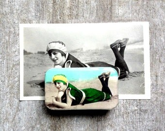 Bathing Beauty tin, pill box, bobby pin holder