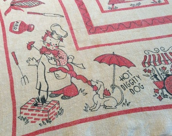 Vintage BBQ Tablecloth Hot Diggity Dog Cookout Fun
