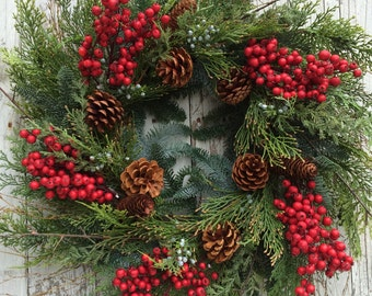 Christmas Wreath, Pine Wreaths. Berry and Pine Christmas Wreath, Artificial Pine Christmas Wreath for Door