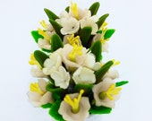 Handmade Miniature Polymer Clay Flowers for Dollhouse and Gifts, set of 2 pieces