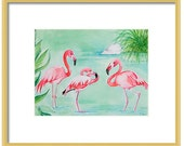 Watercolor Flamingo Art Print-Tropical Decor-Wall Art- Pink Flamingo Painting-Flamingo Wall Decor-Giclee-Palm Beach Decor-Home Decor