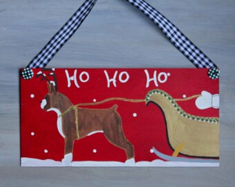 Boxer Dog Christmas Door or Wall Decoration HO HO HO