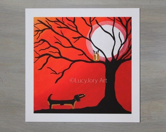 Dachshund Autumn Fall Night Art Giclee Print 7 x 7