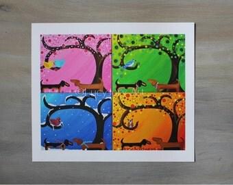 Dachshunds 4 Seasons Art Giclee Print 13.5 by 11.5