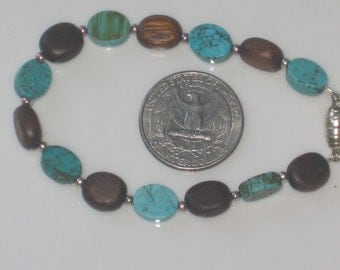 Turquoise and wood for a little boy-free shipping