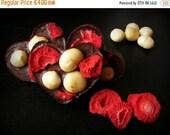 VALENTINE SALE Raw heart shaped chocolates with strawberries and macadamia nuts