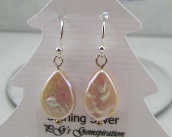 Pale Peach Teardrop Freshwater Pearl and Sterling Silver Earrings