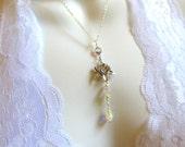 Lotus Necklace Flower Lariat in Silver Swarovski Crytals Pearls Bridesmaid Wedding Gift