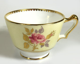Vintage Crown Staffordshire Tea Cup - Pale Yellow with Pink Roses, Gold Rims/Trim, Gold Handle