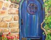 Blue Door art painting 12x9