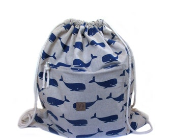 whale backpack cotton linen