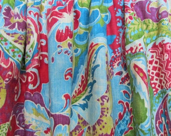"Bright Bohemian Curtains, Boho Home Decor, Multi-Colored Window Curtains, Bright Floral Paisley Drapes, Rod-Pocket, One Pair 50""W"