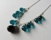 Peacock Teal Blue Quartz and Black Spinel Statement Necklace - Wire Wrapped Jewelry - Handmade in Seattle