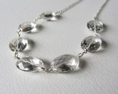 Faceted Rock Crystal Gemstone Statement Necklace - Wedding Jewelry - Clear Gemstone Bridal Necklace