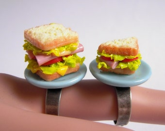 Ham Sandwich Ring, Miniature Food Ring, Kwaii Jewerly, Miniature Sandwiches, Half Portion Or Full Portion