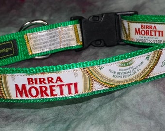Adjustable Dog Collar from recycled Italian Birra Moretti Beer Labels