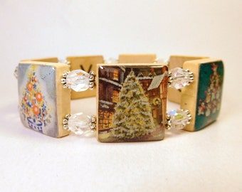 CHRISTMAS JEWELRY / O Tannenbaum Tree Bracelet / SCRABBLE / Unusual Gifts / Upcycled