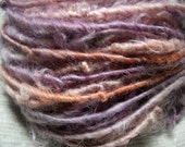 Handspun Soft Curly Bulky Cotswold Wool Art Yarn in Smoky Lavender with Pink and Persimmon by KnoxFarmFiber for Knit Weave Felt Crochet