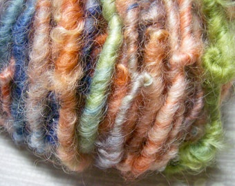 Handspun Hand Dyed Curly Border Leicester Wool Bulky Art Yarn in Smoky Blue, Grass Green, Rusty Orange by KnoxFarmFiber for Knit Felt Weave